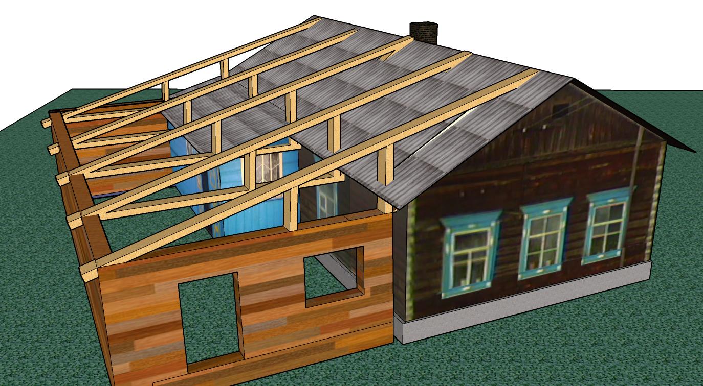 пристрой к деревянному дому фото