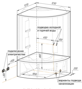 Поэтапная установка кабинки и подключение